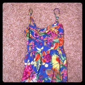 Tropical floral maxi dress